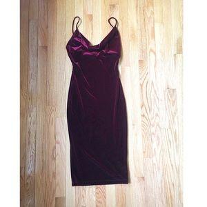Lulus. Jazzy Belle Burgundy Velvet Dress.